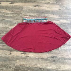 LunaChix Maroon Tribal Accent Skater Skirt